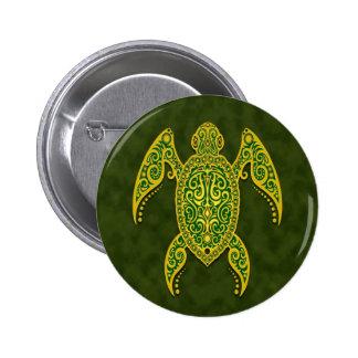 Intricate Green Sea Turtle Pinback Button