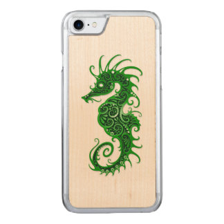 Intricate Green Seahorse Design on White Carved iPhone 7 Case