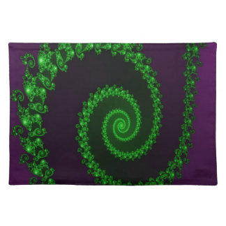 Intricate Green Swirl on Purple Fractal Cloth Placemat