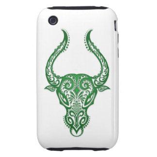 Intricate Green Taurus Zodiac on White Tough iPhone 3 Cover