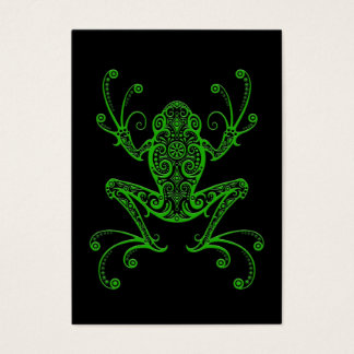 Intricate Green Tree Frog on Black Business Card