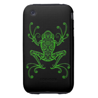 Intricate Green Tree Frog on Black iPhone 3 Tough Case