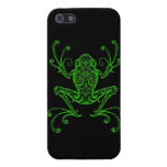 Intricate Green Tree Frog on Black iPhone 5 Cover
