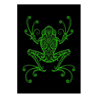 Intricate Green Tree Frog on Black Large Business Card