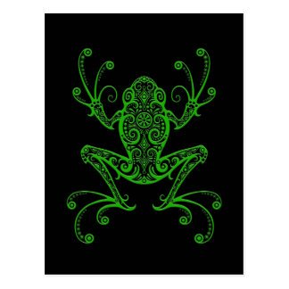 Intricate Green Tree Frog on Black Postcard