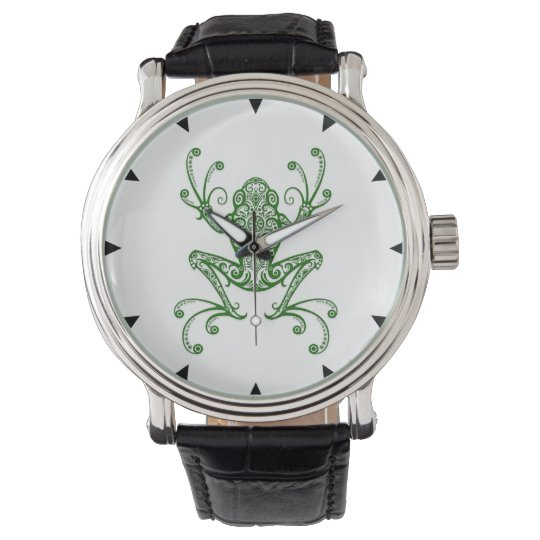 Intricate Green Tree Frog on White Watches