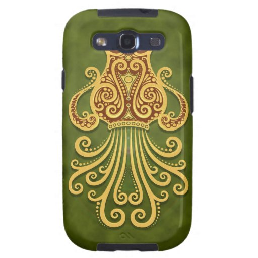 Intricate Green Tribal Aquarius Galaxy S3 Cases