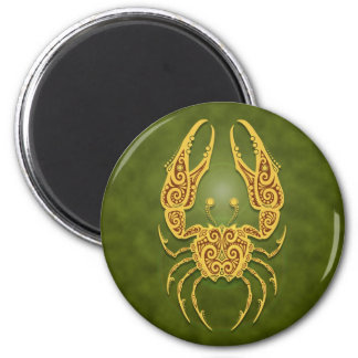 Intricate Green Tribal Cancer 2 Inch Round Magnet