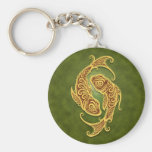 Intricate Green Tribal Pisces Basic Round Button Keychain