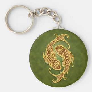 Intricate Green Tribal Pisces Key Chains