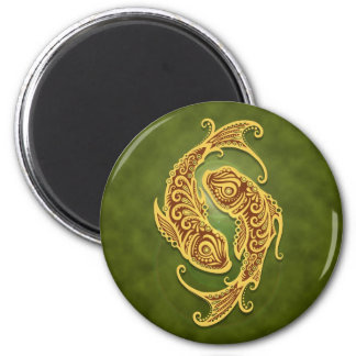 Intricate Green Tribal Pisces Magnet