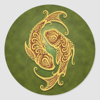 Intricate Green Tribal Pisces Stickers