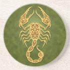 Intricate Green Tribal Scorpio Drink Coaster