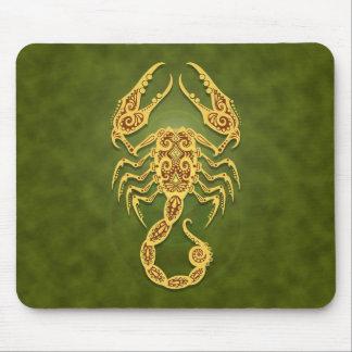 Intricate Green Tribal Scorpio Mouse Pad