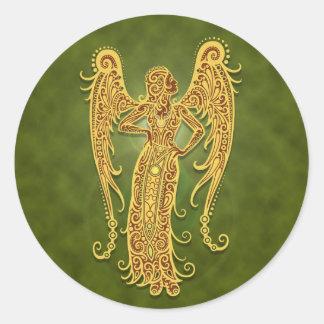 Intricate Green Tribal Virgo Classic Round Sticker