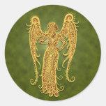 Intricate Green Tribal Virgo Round Sticker