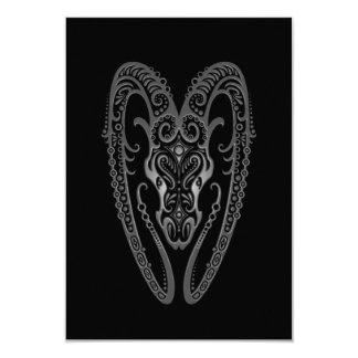 Intricate Grey Aries Zodiac on Black 3.5x5 Paper Invitation Card