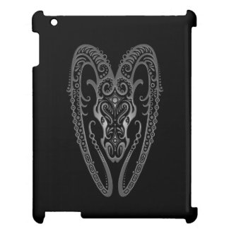Intricate Grey Aries Zodiac on Black Cover For The iPad 2 3 4