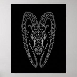 Intricate Grey Aries Zodiac on Black Poster