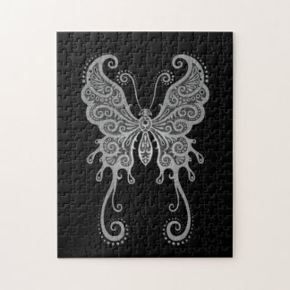 Intricate Grey Butterfly Jigsaw Puzzle