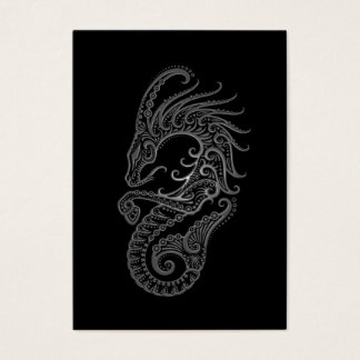 Intricate Grey Capricorn Zodiac on Black Business Card