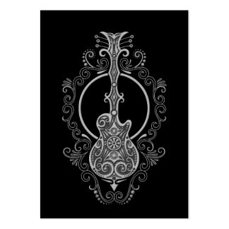 Intricate Grey Guitar Design on Black Large Business Cards (Pack Of 100)
