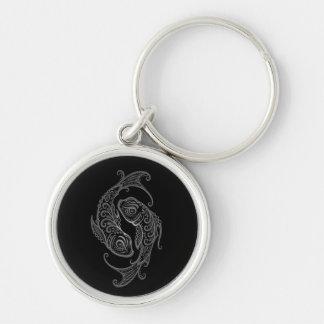 Intricate Grey Pisces Zodiac on Black Keychain
