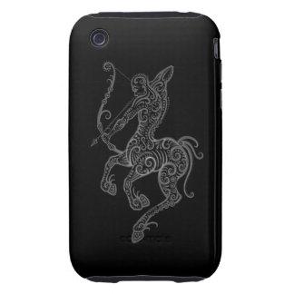 Intricate Grey Sagittarius Zodiac on Black iPhone 3 Tough Covers