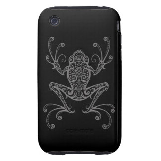 Intricate Grey Tree Frog on Black iPhone 3 Tough Cases