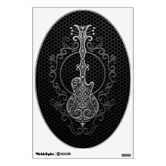 Intricate Guitar on Steel Mesh Wall Stickers