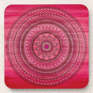 Intricate Hand Drawn Red And White Mandala Coaster