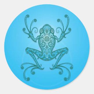 Intricate Light Blue Tree Frog Classic Round Sticker