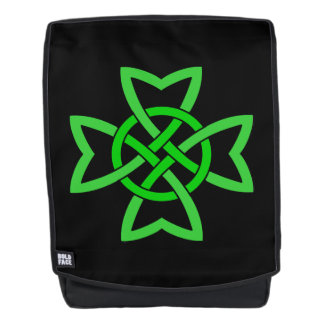 Intricate Looped Vivid Green Irish Celtic Knot Backpack