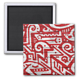 Intricate Mural in Red and White 2 Inch Square Magnet