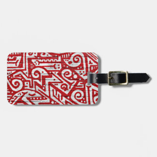 Intricate Mural in Red and White Bag Tags