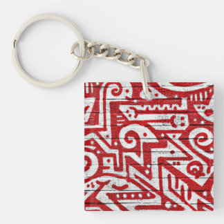 Intricate Mural in Red and White Keychain