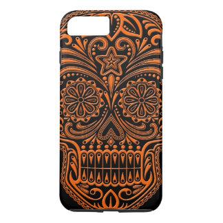 Intricate Orange and Black Sugar Skull iPhone 8 Plus/7 Plus Case