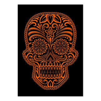 Intricate Orange Sugar Skull on Black Business Card Template