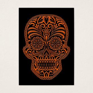 Intricate Orange Sugar Skull on Black Business Card