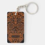 Intricate Orange Sugar Skull on Black Rectangular Acrylic Keychain