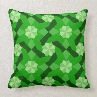 Intricate Patchwork Design Green Shades Throw Pillow
