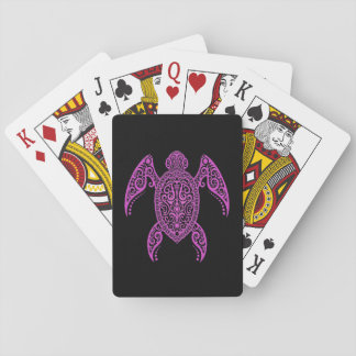 Intricate Pink and Black Sea Turtle Poker Cards