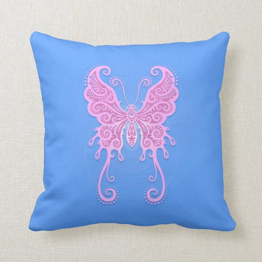 Intricate Pink and Blue Butterfly Pillow