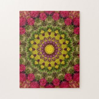Intricate Pink and Green Floral Mandala Puzzle