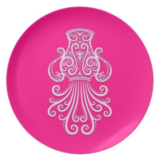 Intricate Pink Aquarius Zodiac Party Plate