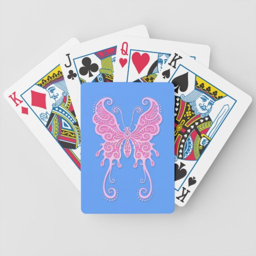 Intricate Pink Butterfly on Blue Bicycle Playing Cards