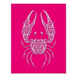 Intricate Pink Cancer Zodiac Poster