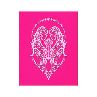 Intricate Pink Gemini Zodiac Canvas Prints