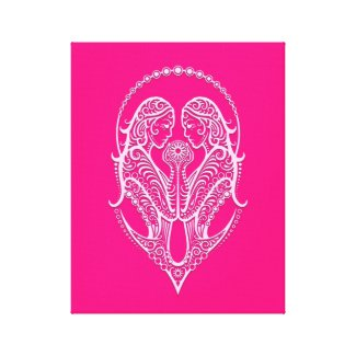 Intricate Pink Gemini Zodiac Canvas Prints