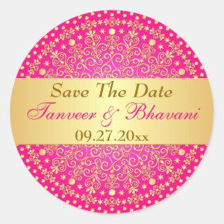 Intricate Pink Gold Scrolls, Dots Wedding Sticker